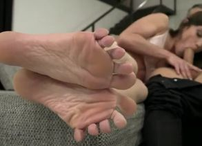Brown-haired adult movie star footjob..