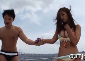 Japanese playgirl gets moist from..