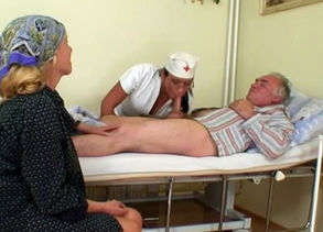 Steamy Nurse Helps Older Patient To..