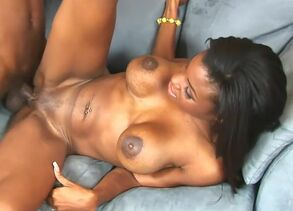 Big-chested chocolate hotty nasty on..
