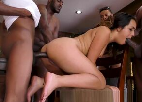 Maiden Latina bukkaked by Big black..