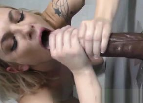 Ash-blonde tugs big black cock jizz flow